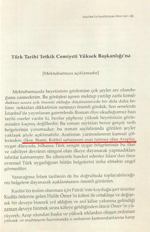 Atatürk'ün Türk Tarih Kurumu'na yazdığı mektubun günümüz Türkçe'sine çevrilmiş hali