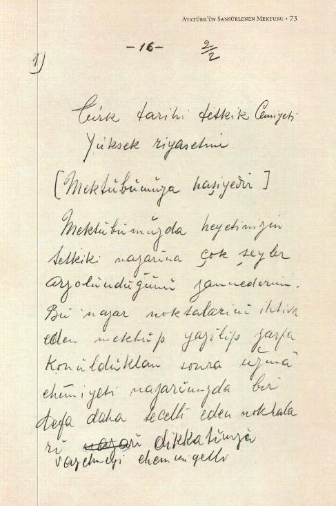 Atatürk'ün kendi el yazısıyla Türk Tarih Kurumu'na yazdığı mektup