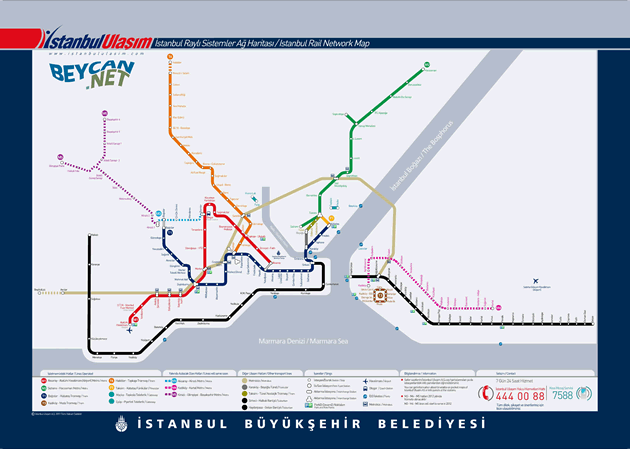 İstanbul rail network, station names, metro and metrobus, public transportation