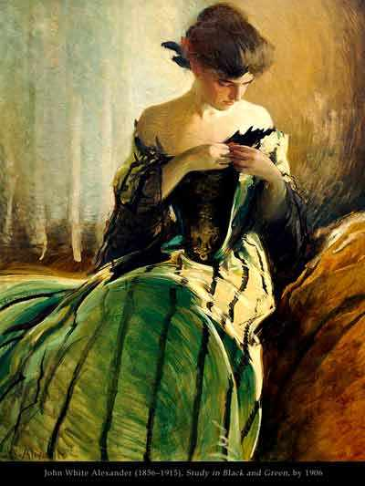 john white alexander - study in black and green