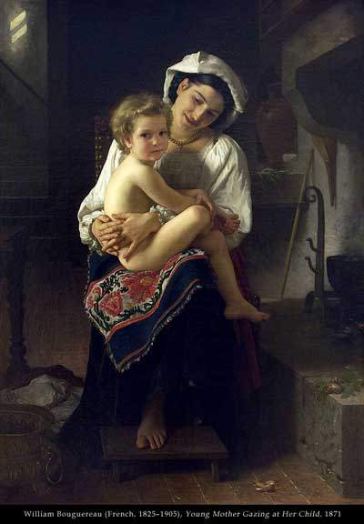 william bouguereau tuval - young mother gazing at her child